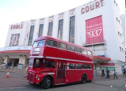 Shuttle bus awaits custom - Earls Court Exhibition Centre forecourt