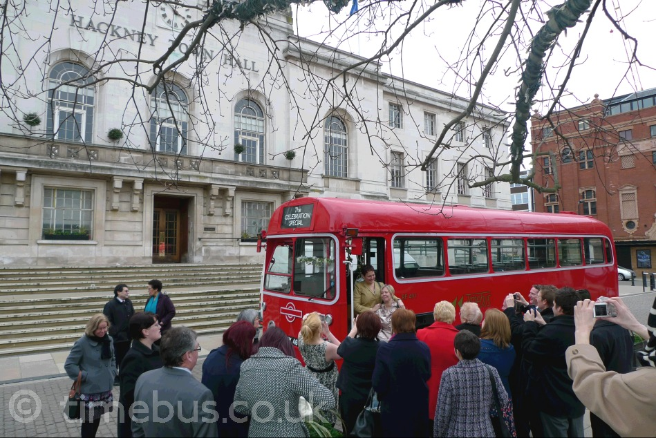 Hackney Town Hall forecourt and single deck bus - Hackney Register Office, Hackney Town Hall, Mare Street