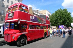 Open top bus in Pride London parade - Portland Place