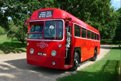 Single deck vintage bus at country house hotel - Braxted Park Estate