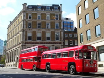 Featuring bus hire using: Regal Four, Open Platform Routemaster.