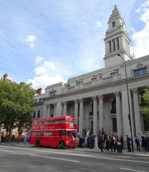 Refurbished bus and refurbished building - Old Marylebone Town Hall