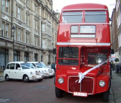 Routemaster in Ely Place with plain ribbons and bows