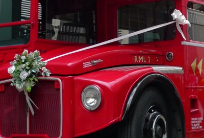 Routemaster bonnet, with bouquet and sash