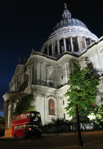 [Routemaster by night at St Pauls Cathedral]