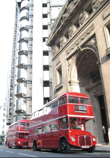 2 Routemasters by Lloyds building