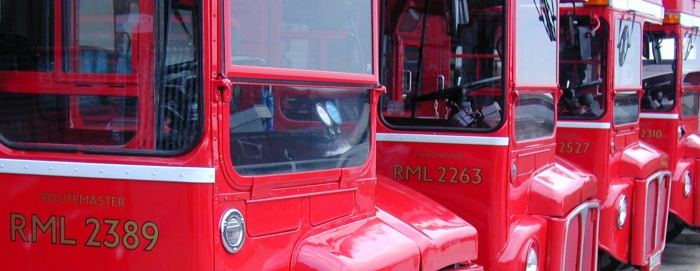 Line up of Routemasters
