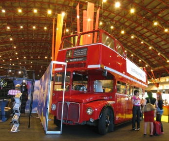 Open Topper with Open Platform at Earls Court Exhibition Centre; Westminster Uni stand