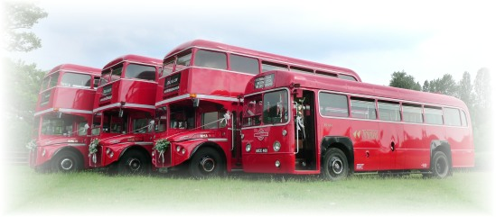 Quartet of buses on hire, Northamptonshire