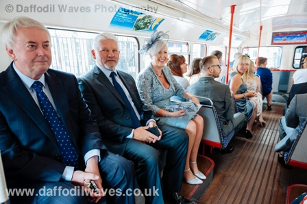 Wedding guests inside a Routemaster